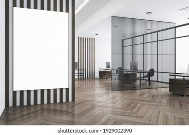 White poster with copyspace on striped wall in modern open space office with eco style interior, parquet and airy partition. 3D rendering, mockup
