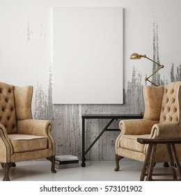 White poster in hipster living room, 3d illustration