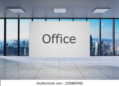 White poster in large modern empty office with skyline view 3D Illustration