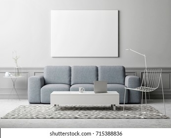 White poster in living room, scandinavian design, 3d illustration