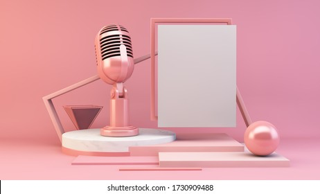 Weißes Postermikrofon 3D-Darstellung