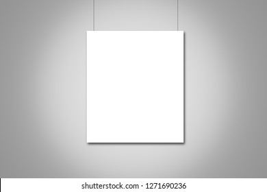 white poster mock up on grey wall