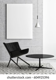 white poster on concrete wall, hipster living room, 3d illustration