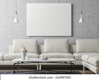 White poster on concrete wall, living room background, 3d illustration