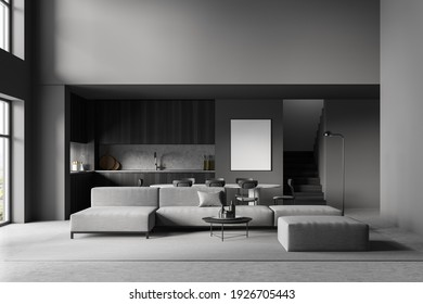 White poster on wall. Luxurious and modern interior of living room. Kitchen area with dining table. Ladder to second floor. Huge couch in the middle of the apartment space. 3D rendering. Mock up.
