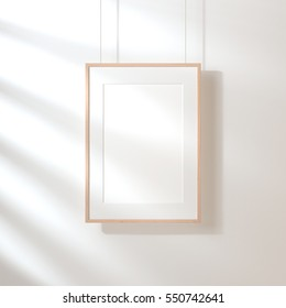 White poster with wooden frame Mockup hanging on the wall, 3d rendering