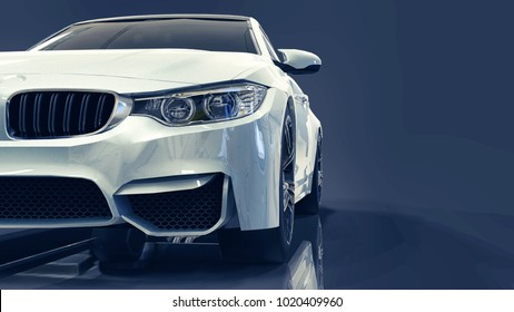White premium BMW car. Three-dimensional illustration on a dark blue background. 3d rendering.