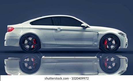 White premium BMW car. Three-dimensional illustration on a dark blue background. 3d rendering.