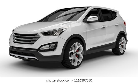 White premium city crossover on a white background. 3d rendering.