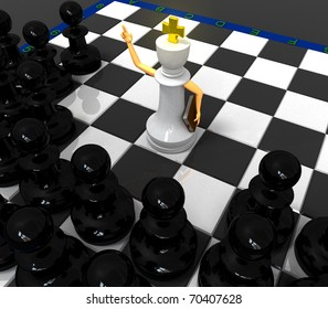 White priest king and black pawns