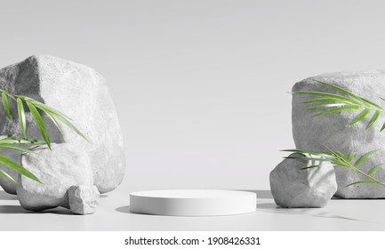 White product display podium with bamboo nature leaves and stone. 3D rendering