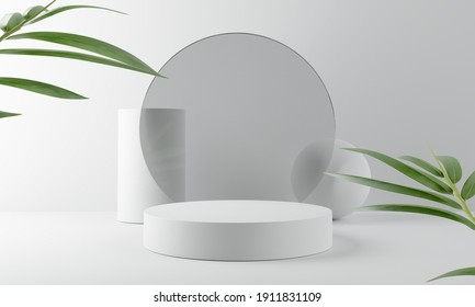 White product display podium with bamboo nature leaves. 3D rendering