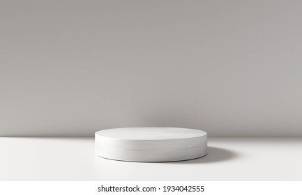 White product display podium in room with light of window background. 3D rendering