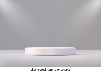 White product display stand or podium pedestal on advertising background with blank backdrops. 3D rendering.