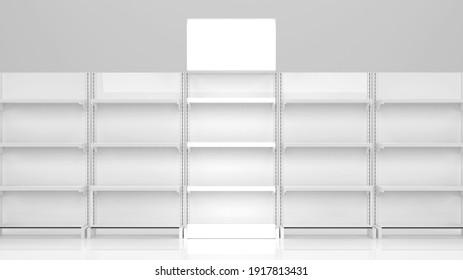 White product store shelves. Gondola display. isolated on white background 3D Render