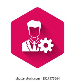 White Profile settings icon isolated with long shadow. User setting icon. Profile Avatar with cogwheel sign. Account icon. Male person silhouette. Pink hexagon button