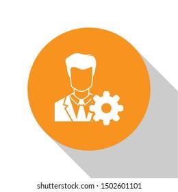 White Profile settings icon on white background. User setting icon. Profile Avatar with cogwheel sign. Account icon. Male person silhouette. Orange circle button. Flat design
