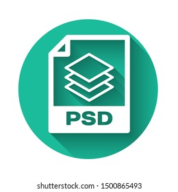White PSD file document icon. Download psd button icon isolated with long shadow. PSD file symbol. Green circle button