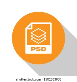 White PSD file document icon. Download psd button icon isolated on white background. PSD file symbol. Orange circle button