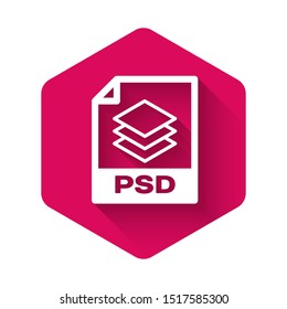 White PSD file document icon. Download psd button icon isolated with long shadow. PSD file symbol. Pink hexagon button