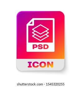White PSD file document icon. Download psd button icon isolated on white background. PSD file symbol. Rectangle color button