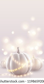 White pumpkins and soft pink magic lights holiday background. Romantic wedding card vertical backdrop.