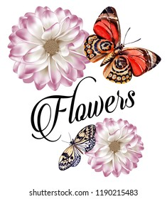 White and purple flowers with around colorful butterflies. JPEG format.
