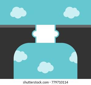 White puzzle piece bridge across large gap high above clouds. Solution, partnership and communication concept. Flat design