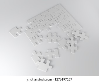 white puzzle pieces business marketing idea team work 3D illustration