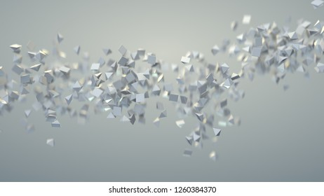 White pyramids are flying spirally. Computer generated abstract background. 3D rendering