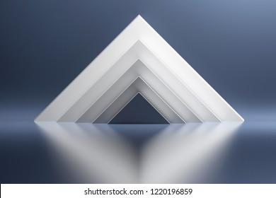 White pyramids on the background of blue shiny reflective mirroring surface. 3d illustration.