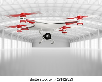 white quadcopter drone with HD camera in flight in interior warehouse