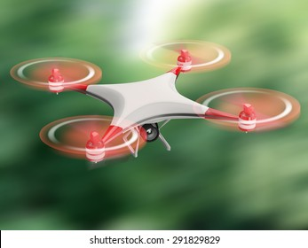 white quadcopter drone with HD camera in flight on green background