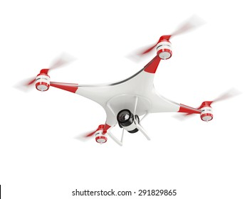 white quadcopter drone with HD camera in flight isolated on white background