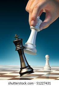 White queen moves to win a chess game. Digital illustration.