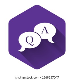 White Question and Answer mark in speech bubble icon isolated with long shadow. Q and A symbol. FAQ sign. Copy files, chat speech bubble and chart web icons. Purple hexagon button