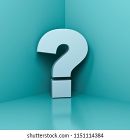 White question mark in the corner with blue green pastel color wall background  shadow and reflection 3D rendering