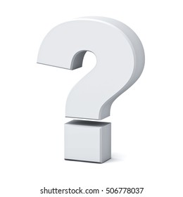 White question mark isolated over white background with shadow. 3D rendering.
