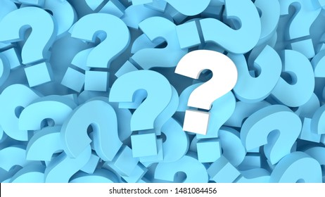 White question mark on a background of blue question marks. 3d illustration design