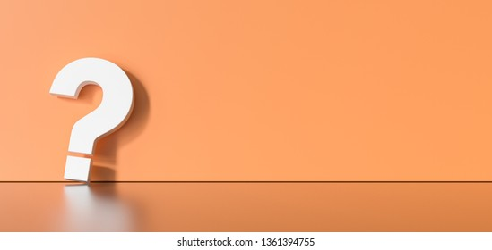 White question mark on orange background with empty space on left side. 3D Rendering