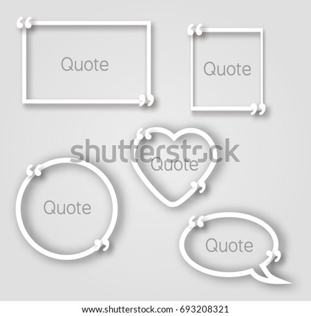 white quote bubble paper frames realistic stock illustration