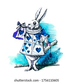White Rabbit, dressed as herald, blowing trumpet Alice's Adventures in Wonderland original watercolor. Near the King was the White Rabbit, with a trumpet in one hand, and a scroll of parchment