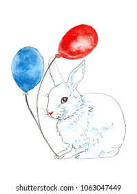 White rabbit holding red and blue balloons