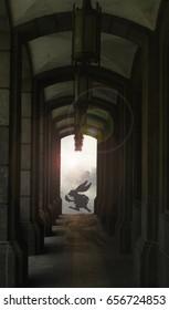 White rabbit running past dark passage
