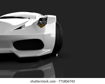 White racing concept car. Image of a car on a gray glossy background. 3d rendering.