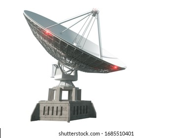 White radio telescope, a large satellite dish isolated on a white background. Technology concept, search for extraterrestrial life, wiretap of space. 3D rendering, 3D visualization, 3D illustration