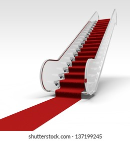 white ramp in airport and red carpet