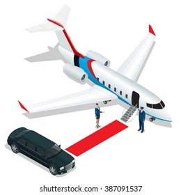 White reactive private jet. White private jet and open ladder, red carpet at the airport. Small private airplane. 3d flat isometric illustration. Business airlines.