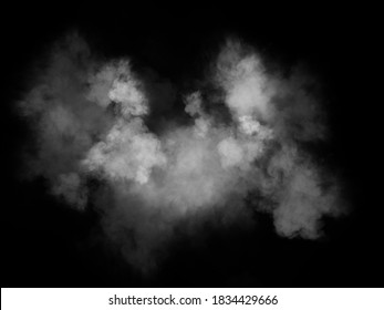 White realistic dust and smoke overlay on black background, smoke effect for your photos.