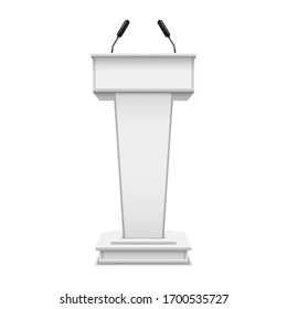 White realistic podium with microphone or pulpit with mic, debate tribune or speech rostrum. Platform for conference speaker or press, lecture or seminar, presentation, communication. 3D illustration